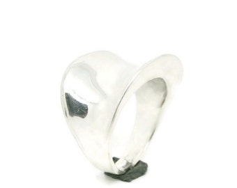 Modern Silver Ring - Statement, Forged, Anticlastic, Polished
