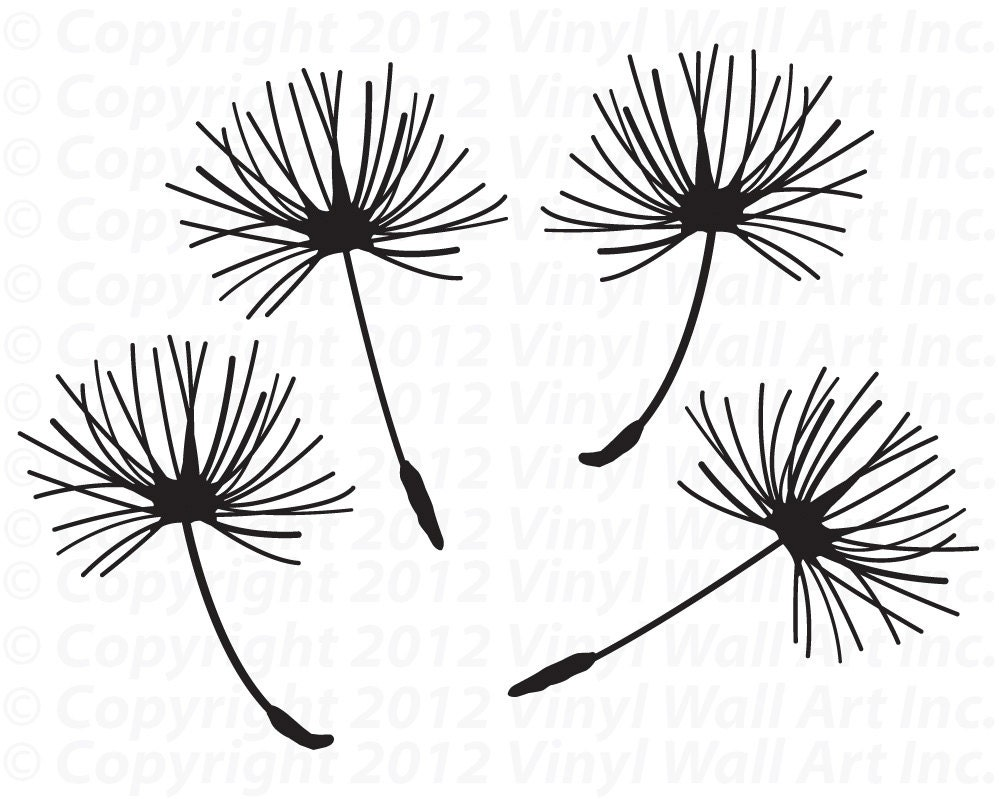 Dandelion Seed Vinyl Decals Set of 4 MEDIUM Dandelion Home