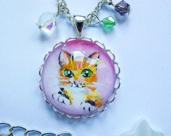 Little cat necklace mini painting cat cabochon, kitten, orange, Brown, mustache, cute, silver plated, cat necklace