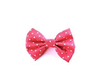 Pink Polka Dot Bow Tie - Polka Dot Hair Bow - Pink and White Polka Dot Bow - dainty and Dapper