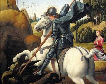 Raphael: Saint George and the Dragon. Fine Art Print/Poster (001298)