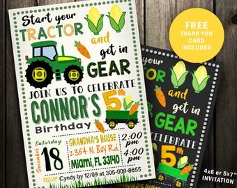 Tractor Birthday Party invitations Farmer Birthday Party printable invitations chalkboard birthday invitations green yellow boy farm