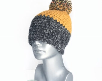 Gray and Yellow Chunky Beanie with  Pom, Mustard and Charcoal Crochet Hat, Dark Gray and Yellow Winter Beanie With Puff, Pom Pom Knit Hat