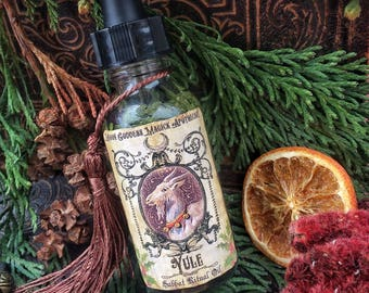 YULE OIL ~ Sacred Sabbat Oil ~ Winter Solstice~1oz bottle w/ Dropper~ Crystal Charged with Garnet~ Yule Oil ~ Ritual Oil ~ Witchcraft~ Pagan