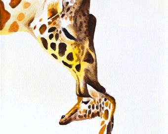 Giraffe With Baby #7 Art Print 8x10 Watercolor