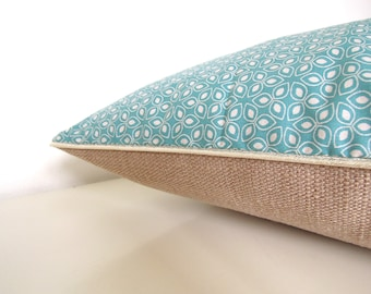 """Cushion cover """" Small graphic blue flowers, brown back and golden piping  """""""