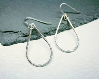 Teardrop hoop earrings, sterling silver, silver hoops, open teardrop earrings, elegant dangle earrings, silver dangles, gift for her