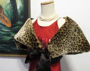 Vintage Faux Fur Cape Leopard Cape Evening Wrap