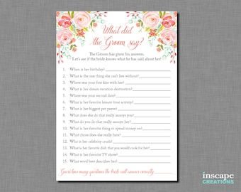 What did the Groom Say about his Bride? Bridal Shower Game, Newlyweds Game, What did He Say about Her, Who Knows Groom Best? Couples Shower