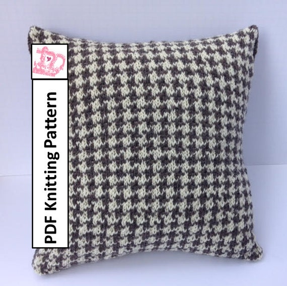 PDF KNITTING PATTERN, knit pillow cover pattern, Houndstooth ...