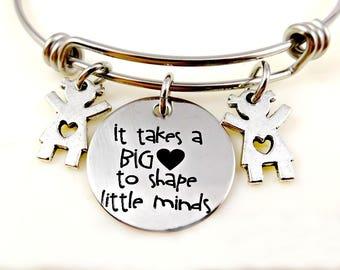 Teacher Bracelet Keychain or Necklace - Teaching School - Teacher Gift - Caregiver - Daycare Teacher - Nanny