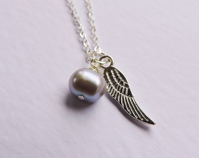 Silver freshwater pearl drop & silver angel wing charm pendant on silver necklace - Perfect for layering - bridesmaids, wedding, bridal gift