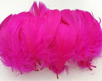 set of 10 hot pink feathers 5-10cm