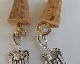 MIni Cork and Corkscrew Earrings