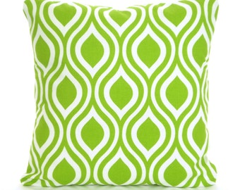 Green Pillow Covers, Decorative Throw Pillows, Cushion Covers, Green White Nicole, Couch Bed Sofa Pillows, Geometric 12 x 16 or 12 x 18