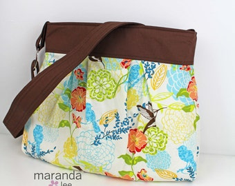SALE Stella Diaper Bag Hummingbird with Brown - Nappy Bag READY to SHIP Adjustable Strap Attaches to Stroller