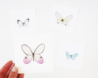 Pastel Butterflies Art Print Set / Realistic Detailed Watercolor Butterfly Pink Blue Yellow / Nursery Decor / Gifts Under 25 for Gardeners