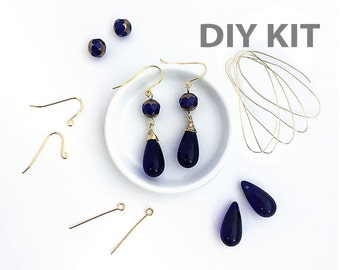 DIY Earring Kit, Jewelry DIY Kit, Wire Wrapped Earring, Dangle Teardrop Earring, Blue Drop Bead Earring, Gift, Wholesale, EP006
