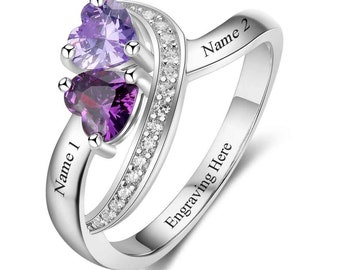 2 Birthstone Dancing Hearts Personalized Promise Ring