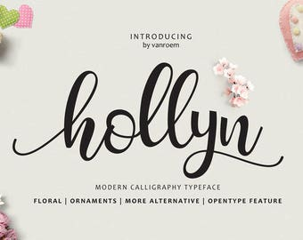 Hollyn Fonts Digital font Swirly Font Script Font Digital download swash font Handwritten font calligraphy font wedding font Cricut font