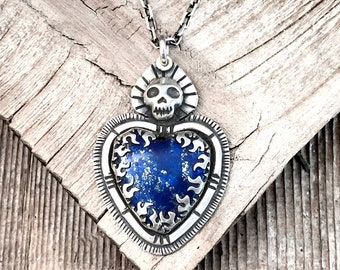 Skull necklace with Lapis Lazuli heart in sterling silver, girlfriend gift for wife