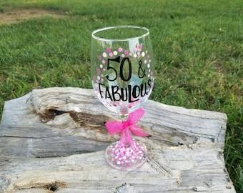 50 and Fabulous pink wine glass,  50th Birthday wine glass, Fabulous 50 wine glass, Fabulous 50 polka dot wine glass, 50th wine glass