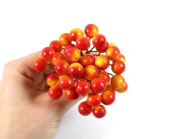 40 Red Orange Yellow Berries Artificial Berries Fake Berry Cluster Scrapbooking Flower Embellishments Craft Flowers