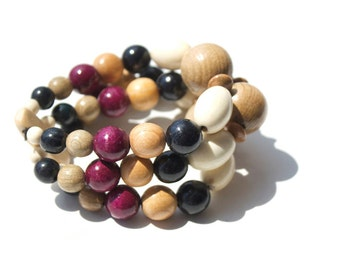 Bracelet Square with oval beads. Handmade wooden jewelry. Exclusive gift.
