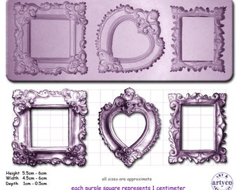 FRAMES ORNATE x 3 Craft Sugarcraft Sculpey Silicone Rubber Mould
