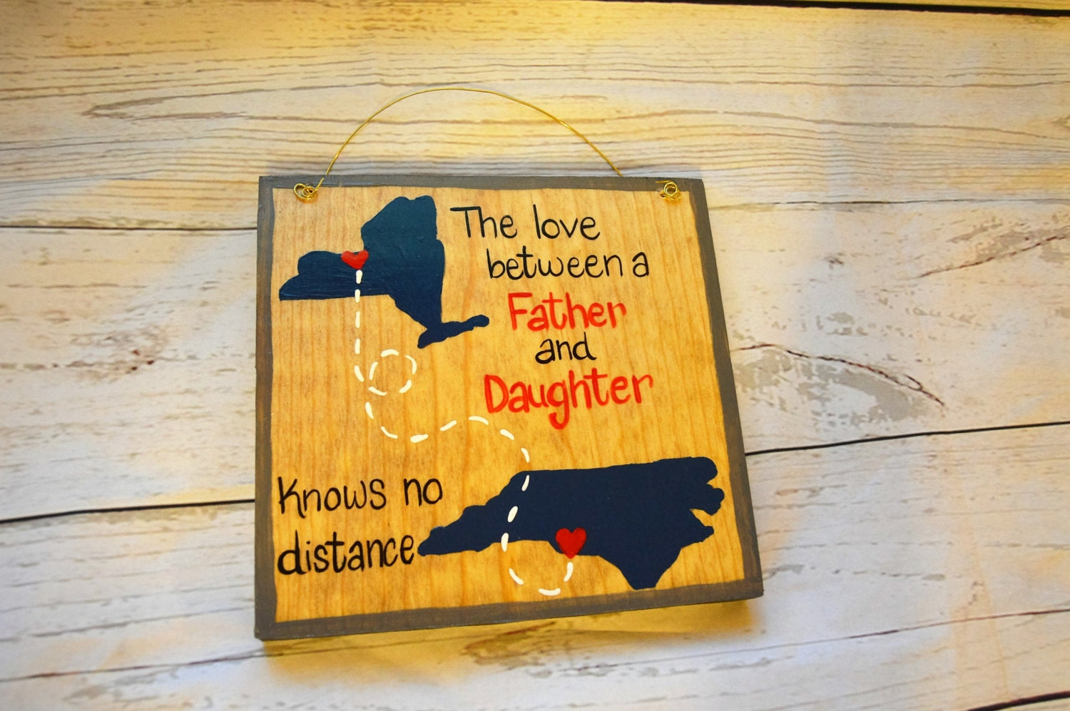 Wood Father\'s Day Sign Long Distance States City