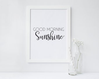PRINTABLE Art Good Morning Sunshine Black and White Kitchen Decor Kitchen Art Print Kitchen wall art  Good Morning Beautiful