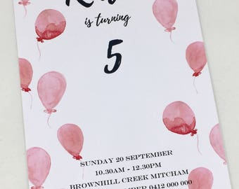 Balloons Galore! Birthday Invitations - with envelopes