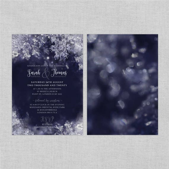 Wedding invitation set printable printable invitations, Navy blue wedding invitation template, Winter wedding invitations snowflake, A5