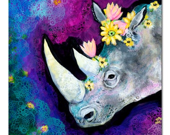 Limited Edition Print - Flowers for Rhino Fine Art Reproduction by Jenlo