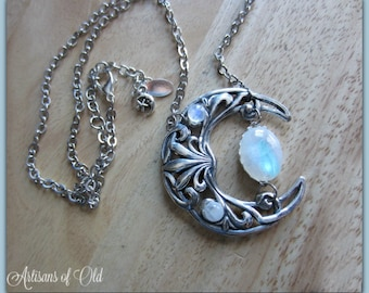 Rainbow Moonstone Crescent Necklace, Floating Moonstone Statement Necklace, Silver Crescent