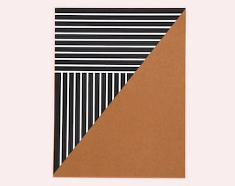 Set of 15 Thank You Flat Cards / A Note of Thanks (geometric, copper, black, small, metallic, simple, minimal, gift card, stripes, shimmer)