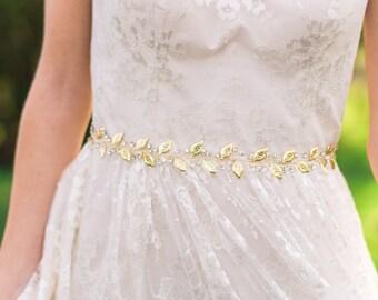 Laurel Leaf Belt Laurel Leaf Sash Bridal Belt Gold Bridal Sash Gold Leaf Belt Leaf Sash Crystal Belt Woodland Belt Woodland Sash #116