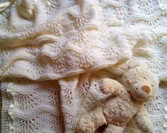 Newborn baby Merino Wool cream cover-Birth gift Idea-handmade blanket Color Cream