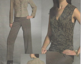 Sleeveless Wrap Top Pattern Semi-fitted Pattern Pants Misses Size 6 - 8 - 10 Uncut Vogue 2987 Anne Klein