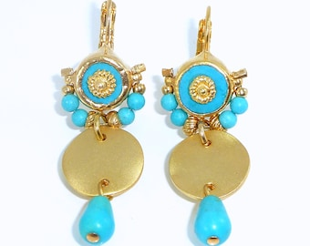 Turquoise Earrings, Long Dangle Earrings,Gemstone Earrings,December Birthstone, Turquoise Gold Jewelry, Turquoise Drop Earrings, Turquoise.