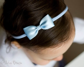 Pastel Blue Baby Headband - Flower Girl Headband - Small Satin Pastel Blue Bow Handmade Headband - Baby to Adult Headband