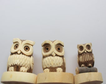 Vintage Hand Carved Wooden Owl Trio Figurines 1980s