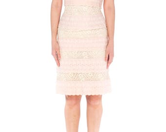 1950s Pink Eyelet And Lace Dress Size: S