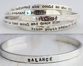 Inspirational quote cuff bracelet in sterling silver • cb65