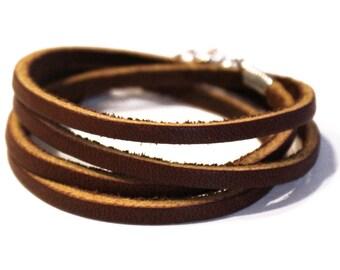 Brown Multi Wrap Thin Leather Bracelet, Multi Strand Cuff