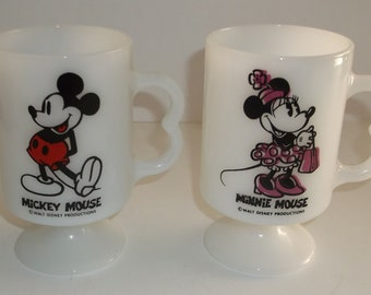 Vintage Mickey & Minnie Mouse Milk Glass Pedestal Mugs Cups