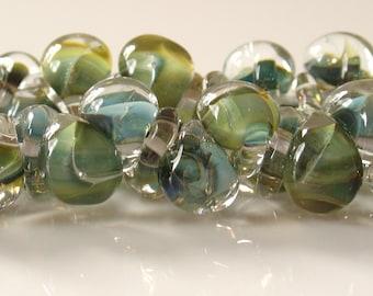 10mm Unicorne Tear Drop Lampwork Beads - Multi Forest - 4 Pieces - 21045