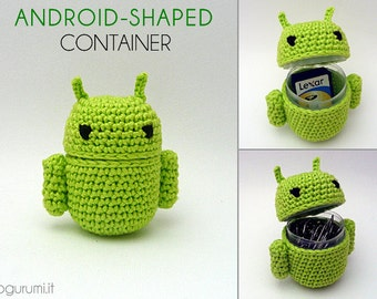 Crochet Android Amigurumi Holder Container (MADE TO ORDER)