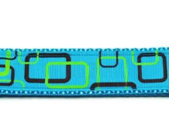 X-Large Blue Geometric Squares Adjustable Dog Collar