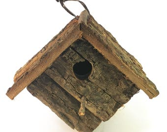 Handmade Wood Bark Wren Hanging Birdhouse